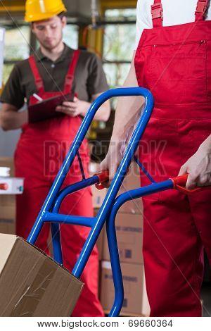 Pushing A Manual Trolley