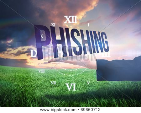 Businesswomans hand presenting the word phishing against green field under orange sky