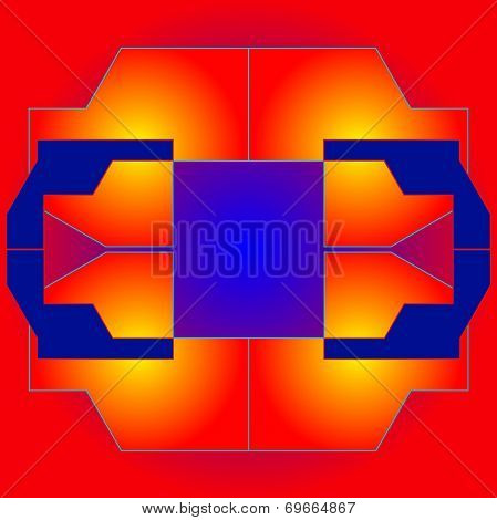 Colored Geometrical  Figures On A Bright Red Background