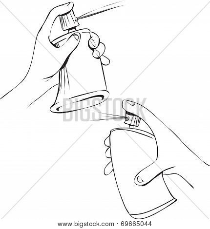 Hand Holding Spray Can