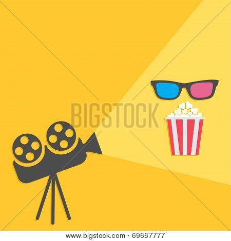 Cinema Projector With Light And Popcorn And 3D Glasses. Flat Design.