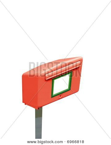 Single Mail Post Box, Metal Container, Isolated On White