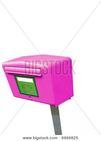 violet Single Mail Post Box, Metal Container, Isolated On White