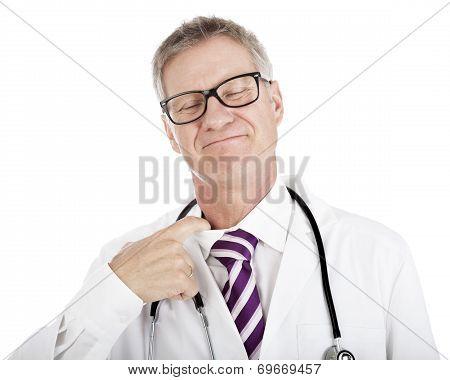Smiling Doctor Loosening His Tie