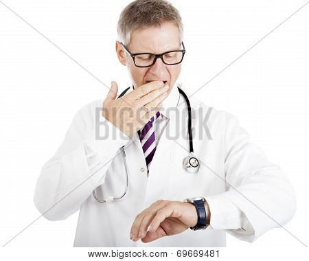 Doctor Gesturing At His Watch