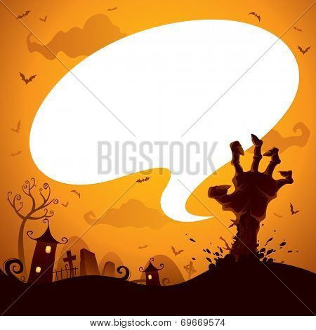 Halloween zombie hand with speech bubble