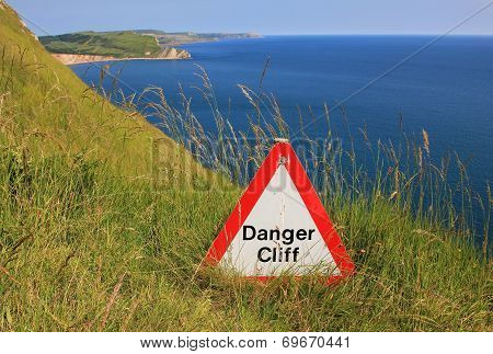 Danger Cliff - Caution Sign