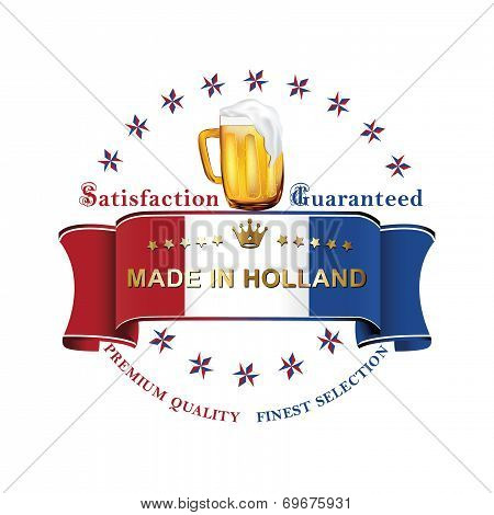 Dutch Beer label with flag the of Holland