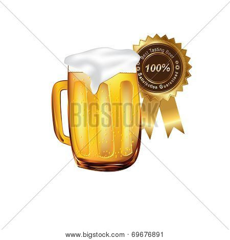 Beer on mug with a ribbon Satisfaction Guarateed