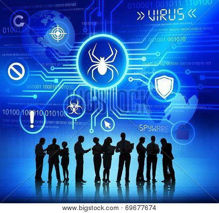 Business People Working and Virus Concepts