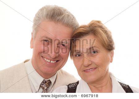 Feliz idade par estando juntos e sorrindo