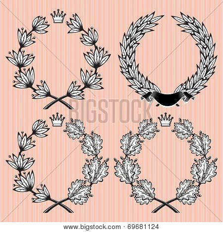 Set Of Vector Wreath Of Laurel And Oak Leaves
