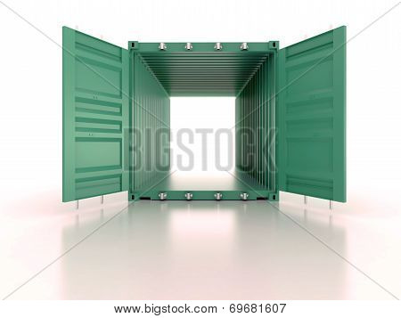 Bright Green Open Empty Metal Shipping Container On White Background