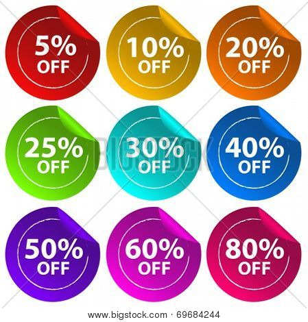 Illustration of the stickers for discount offers on a white background