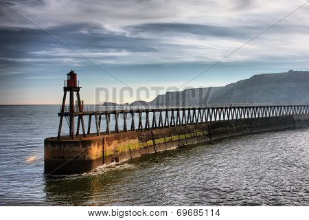 Whitby East Cliff Pier Warning Navigation Beacon