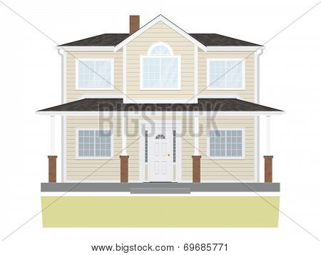 Suburban Family Home Vector Illustration. Suburban home isolated on white background. Flat design, no gradients.
