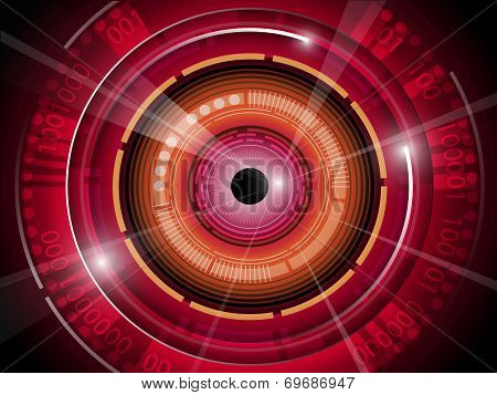 Red eye ball technology background