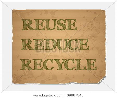 Reuse-Reduce-Recycle text on blank grunge recycled paper