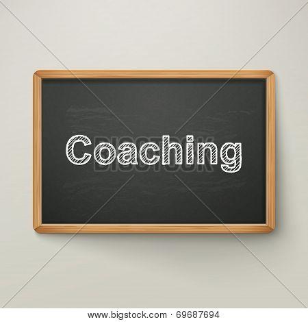 Coaching On Blackboard In Wooden Frame