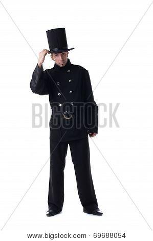 Male model posing in costume of chimney sweep