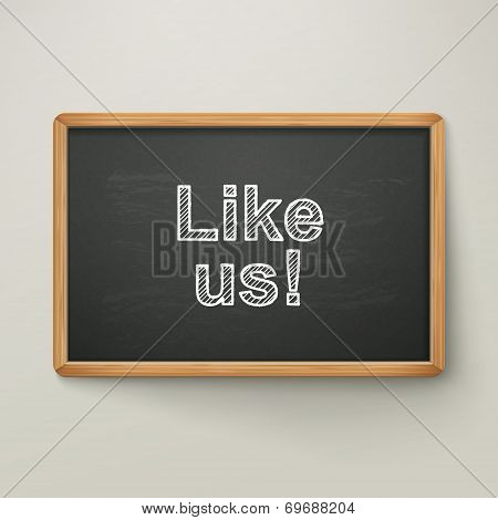 Like Us On Blackboard In Wooden Frame