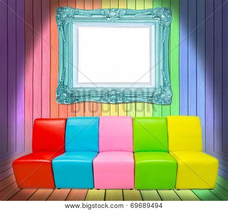Many Color Sofa And Vintage Frame
