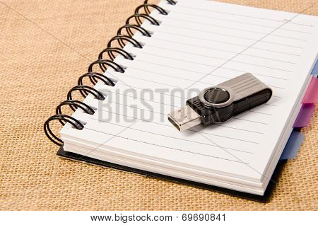 Open Diary Ring Binder And Flash Drive