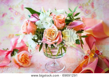 Festive table  with bunch of flowers