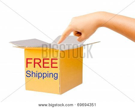 Boxes Made Of Corrugated Cardboard And Hand, Clipping Path.