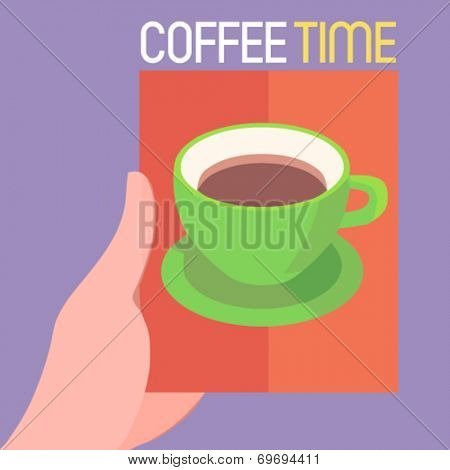 coffee time - flat design vector