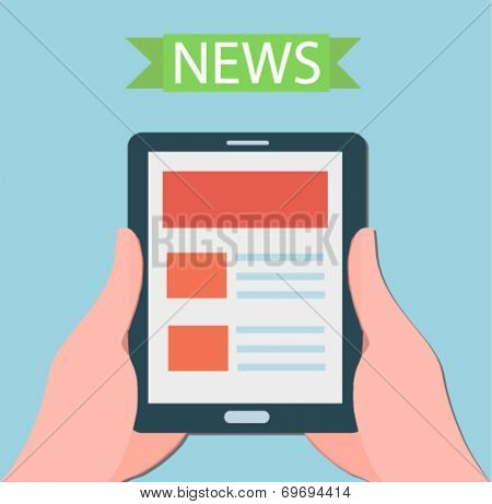 Hands holding a modern digital tablet with news - flat design vector