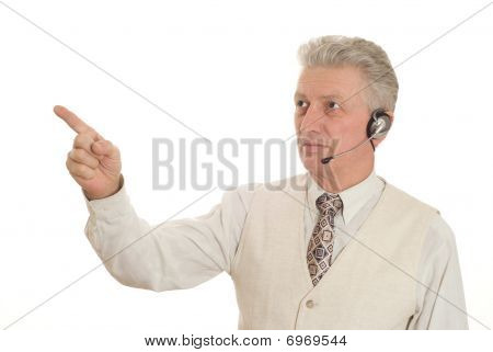 Senior Business Man Holding Hand Out Displaying Space For You To Text.