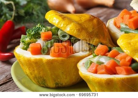 Round Yellow Squash Stuffed With Vegetables Horizontal