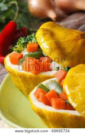 Baked Round Yellow Squash Stuffed With Vegetables