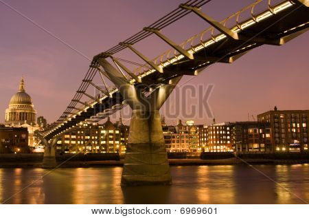 Millennium Bridge And St. Paul's Cathedral, London