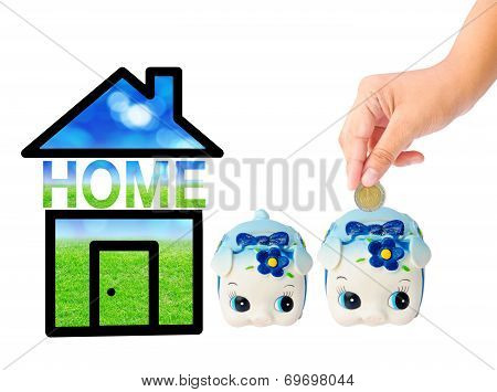 Money Saving With Piggy Bank And Home Icon.