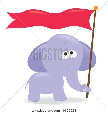 Elephant holding flag/sign