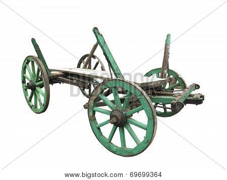 Vintage Old Rough Wooden Cart Isolated On White