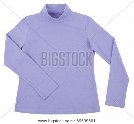 Blue Child Turtleneck. Isolated On White