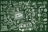 picture of drow  - Back to School Supplies Sketchy chalkboard Doodles with  Swirls - JPG