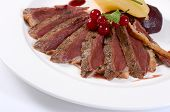 foto of duck breast  - Duck breast in wine sauce close up