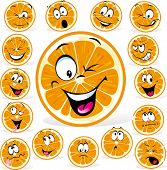 picture of rogue  - orange cartoon with many expressions isolated on white background - JPG