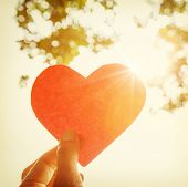 pic of sweetheart  - Hand holding paper heart - JPG