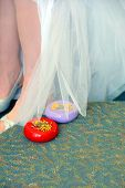 image of caddy  - Bride holds her wedding dress up to be pinned and hemmed - JPG