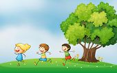 image of hilltop  - Illustration of the three energetic kids playing at the hilltop with a big tree - JPG
