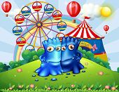 foto of hilltop  - Illustration of the two monsters at the hilltop with an amusement park - JPG