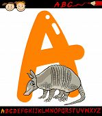 picture of armadillo  - Cartoon Illustration of Capital Letter A from Alphabet with Armadillo Animal for Children Education - JPG