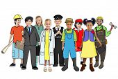 pic of cabin crew  - Multiethnic Group of People with Various Occupations Concept - JPG