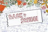 picture of drow  - Back to school design template with autumn leaves - JPG