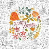 pic of drow  - Back to school design template with autumn leaves - JPG